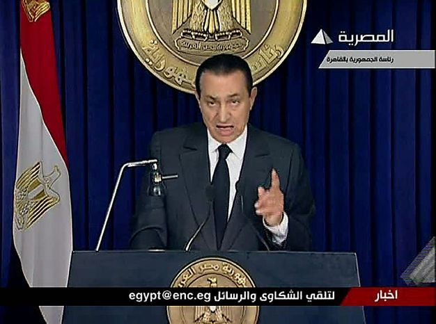 Egyptian President Hosni Mubarak begins to make a televised statement to his nation in this image taken from TV aired Thursday, Feb. 10, 2011. Following more than two weeks of protests, anti-government demonstrators have been given hope by official statements suggesting that Mubarak may step down after 30 years in power.  (AP Photo/ Egypt TV via APTN)