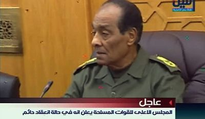 Egypt's Defense Minster Field Marshal Hussein Tantawi attends a meeting of the military supreme council in this image taken from TV Thursday Feb. 10, 2011. President Hosni Mubarak will meet the demands of protesters, military and ruling party officials said Thursday in the strongest indication yet that Egypt's longtime president may be about to give up power and that the armed forces were seizing control. (AP Photo/Nile TV via APTN)