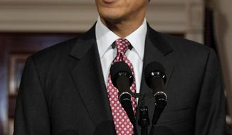 President Obama makes a statement on the resignation of Egypt's President Hosni Mubarak in the Grand Foyer at the White House in Washington, Friday, Feb. 11, 2011. (AP Photo/Carolyn Kaster)