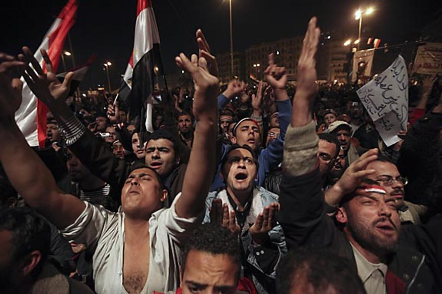 Anti-government protesters in Cairo's Tahrir Square demonstrate Thursday, Feb. 10, 2011, prior to the televised speech of Egyptian President Hosni Mubarak, in which they believed he would step down. Mr. Mubarak resigned Friday. (AP Photo/Tara Todras-Whitehill)