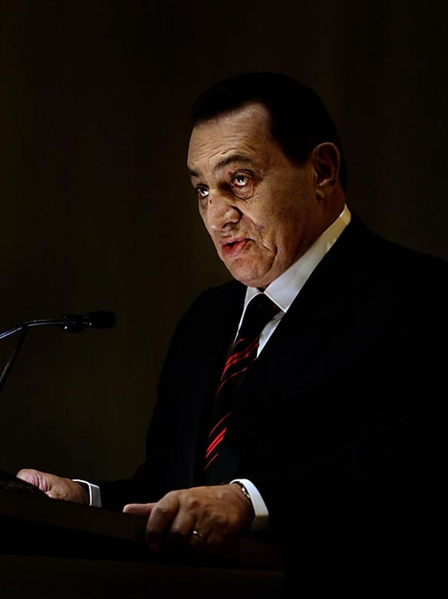 Egyptian President Hosni Mubarak speaks after receiving the Jawaharlal Nehru Award for International Understanding, in New Delhi, India, on Nov. 18, 2008.  (AP Photo/Manish Swarup, File)