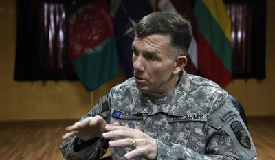 U.S. Lt. Gen. William Caldwell, the commander of NATO's mission to train Afghan policemen and soldiers, speaks with the Associated Press in Kabul, Afghanistan, on Saturday, Feb. 12, 2011. Gen. Caldwell said more nations are pledging support, yet the coalition still faces a shortage of 740 trainers needed to get the Afghan security forces ready to take the lead in securing their nation by the end of 2014. (AP Photo/Dar Yasin)