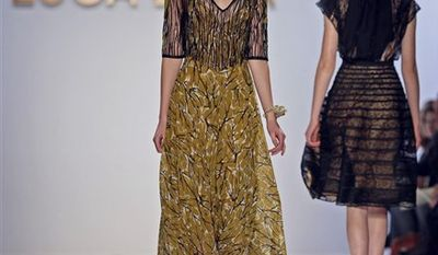 Fashion from the Fall 2011 collection of Luca Luca is modeled on Thursday, Feb. 10, 2011 in New York.   (AP Photo)