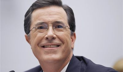 "FILE - In this Sept. 24, 2010 file photo, TV personality Stephen Colbert, host of ""The Colbert Report,"" testifies on Capitol Hill in Washington before the House Immigration, Citizenship, Refugees, Border Security and International Law subcommittee hearing on Protecting America's Harvest. (AP Photo/Alex Brandon, file)"