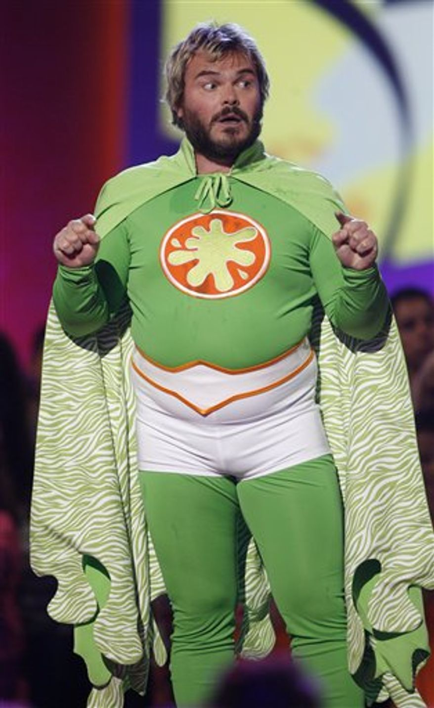 FILE - In this March 29, 2008 file photo, Jack Black hosts the 21st Annual Kids' Choice Awards in Los Angeles. Black will  return to host Nickelodeon's 2011 Kids' Choice Awards on Saturday, April 2, 2011. (AP Photo/Matt Sayles, file)