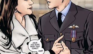 """In this photo released by  Markosia Enterprises Saturday Feb. 12 2011 is an illustration  for the graphic novel """" Kate and William: A Very Public Love Affair"""" .    The royal love story has now been chronicled in speech bubbles and cartoons. A comic book telling the story of Prince William and Kate Middleton's romance is due to be published in April, joining a host of other books and memorabilia flooding the market ahead of the April 29 royal wedding.  """"There's always been a tradition in this country of comics for girls in which the girl dreams of meeting someone famous and falling in love,"""" said Mike Collins, the artist who did the illustrations for """"Kate and William: A Very Public Love Story.""""  (AP Photo /   Markosia Enterprises/ ho)"""