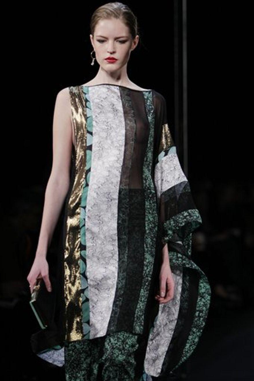 Fall 2011 fashion from Diane von Furstenberg is modeled during Fashion Week in New York, Sunday, Feb. 13, 2011.  (AP Photo/Seth Wenig)