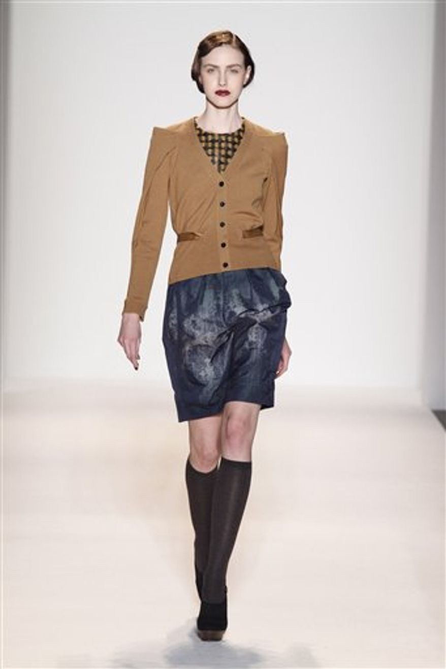 This Sunday, Feb. 13, 2011 photo courtesy of Lela Rose shows the Lela Rose Fall 2011 collection modeled during Fashion Week in New York. (AP Photo/Lela Rose) NO SALES; EDITORIAL USE ONLY