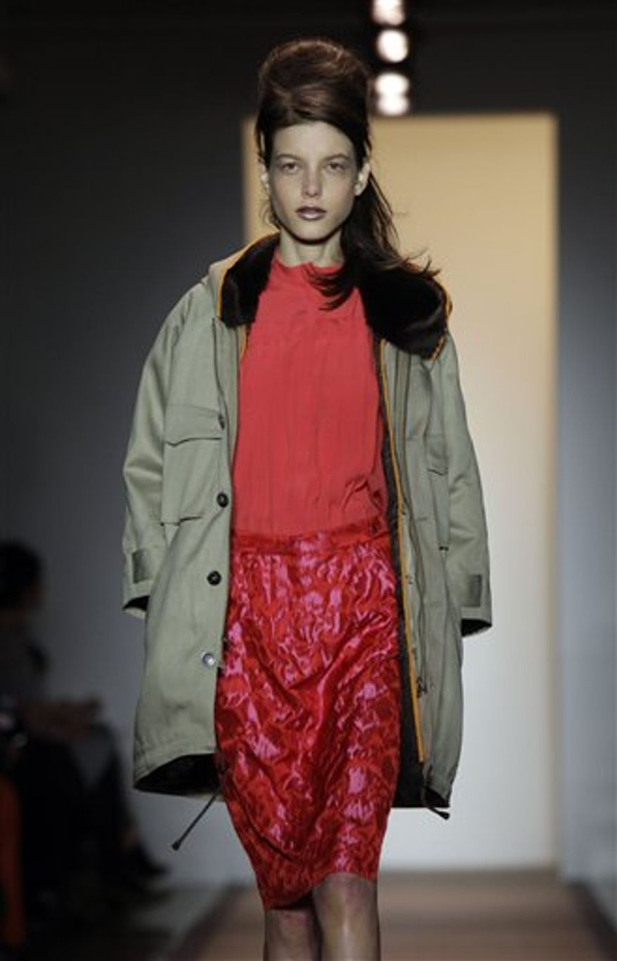The fall 2011 collection of designer Peter Som is modeled during Fashion Week in New York, Friday, Feb. 11, 2011. (AP Photo/Richard Drew)