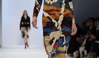 Fall 2011 fashion from designer Jill Stuart is modeled during Fashion Week Saturday February 12, 2011 in New York. (AP Photo/Stephen Chernin)