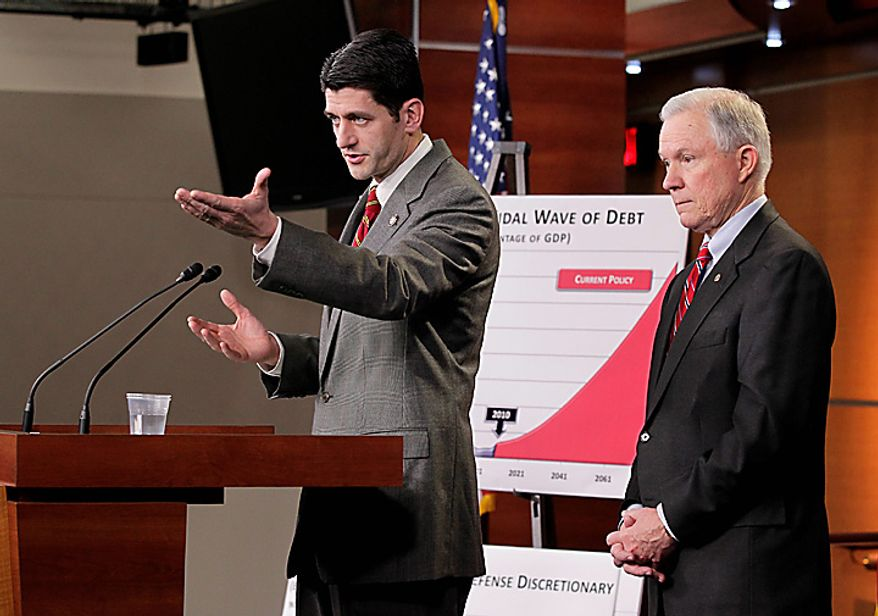 House Budget Committee Chairman Paul Ryan, R-Wis., left, and the Senate Budget Committee's top Republican, Sen. Jeff Sessions of Alabama,  right, give the GOP response to President Obama's budget submission for Fiscal Year 2012, on Capitol Hill in Washington, Monday, Feb. 14, 2011. (AP Photo/J. Scott Applewhite)