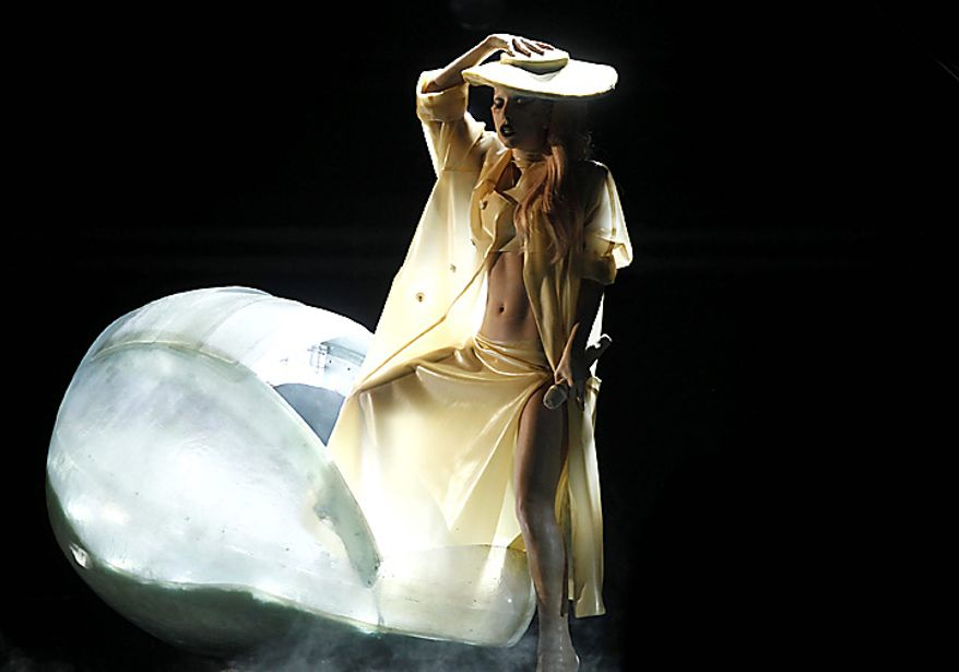 Lady Gaga performs at the 53rd annual Grammy Awards on Sunday, Feb. 13, 2011, in Los Angeles. (AP Photo/Matt Sayles)