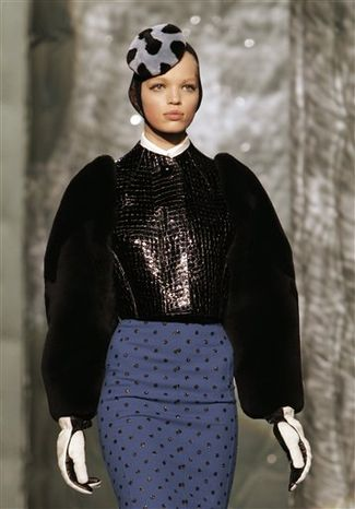 A model walks the runway at the Marc Jacobs Fall 2011 show during Fashion Week in New York, Monday, Feb. 14, 2011. (AP Photo/Kathy Willens)