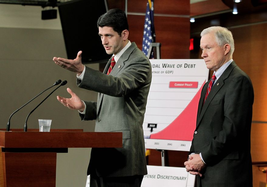 CRITICAL: Rep. Paul D. Ryan of Wisconsin (left) and fellow Republican Sen. Jeff Sessions of Alabama, presenting the GOP's response to Mr. Obama's budget, criticized its taxing and spending levels. (Associated Press)