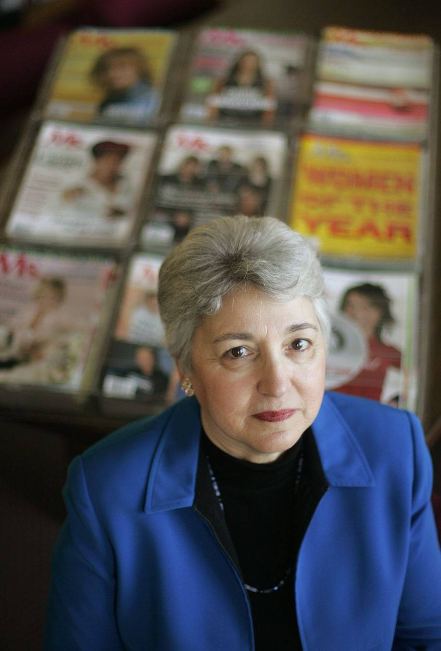 Eleanor Smeal, president of the Feminist Majority Foundation, which publishes Ms. magazine, poses for a photo at her office, Monday, Oct. 2, 2006, in Arlington, Va. (Associated Press/Lawrence Jackson/File)