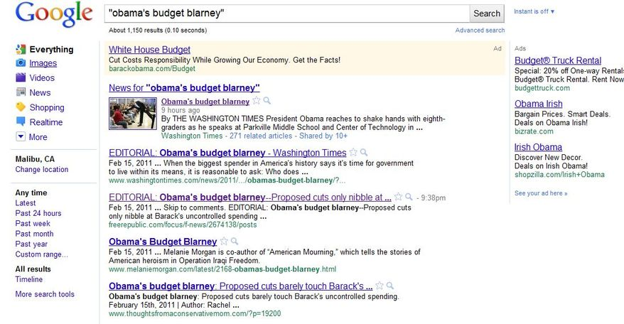 Google ad defending Obama FY-2012 budget