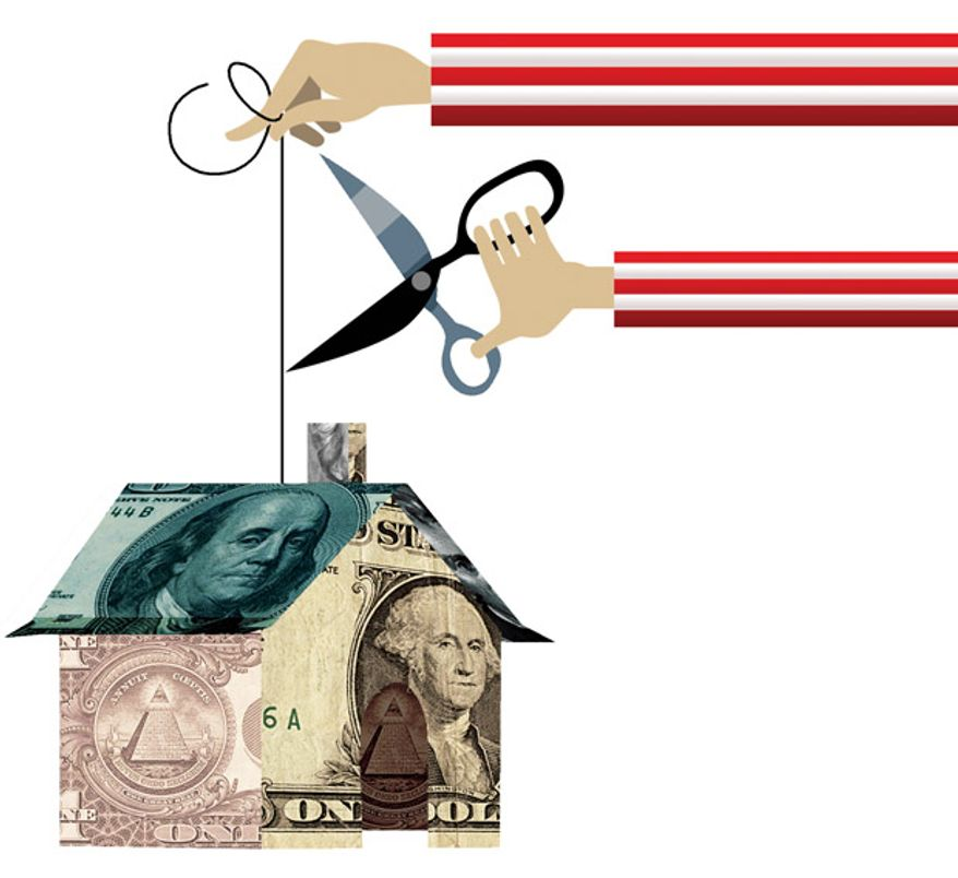 Illustration: Cutting the housing strings by Linas Garsys for The Washington Times