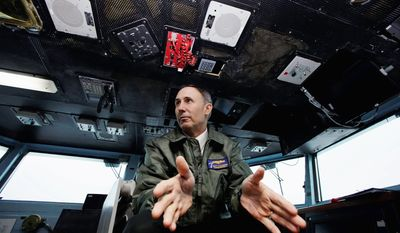 """Vice Adm. Scott Van Buskirk, commander of the U.S. 7th fleet in the Pacific, said China's """"carrier killer"""" missile is not an """"Achilles' heel of our aircraft carriers or our Navy."""" (Associated Press)"""