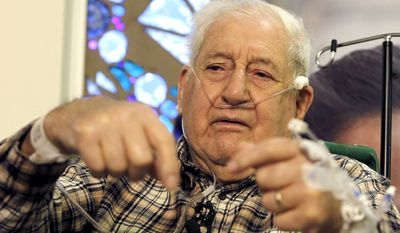 Henry Morello, 84, of Anthem, Ariz., talks about his ordeal in the desert during a news conference on Tuesday, Feb. 15, 2011, in Phoenix. (AP Photo/Ross D. Franklin)