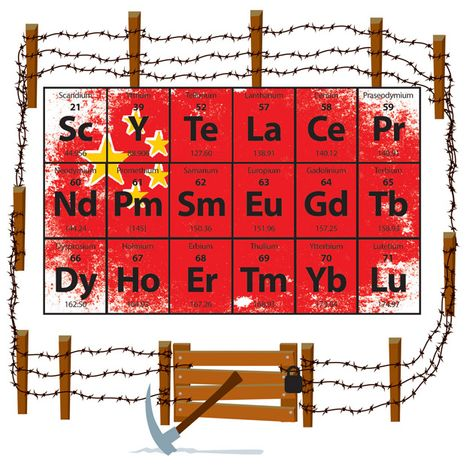 Illustration: China's elements by Linas Garsys for The Washington Times