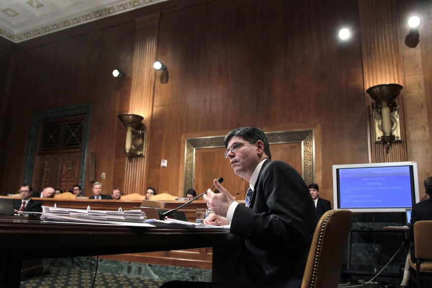 Office of Management and Budget Director Jack Lew appears before the Senate Budget Committee to defend President Obama's fiscal year 2012 budget as Republicans and Democrats on Capitol Hill square off on federal spending, in Washington on Tuesday, Feb. 15, 2011. (AP Photo/J. Scott Applewhite)