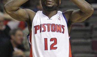Detroit Pistons point guard Will Bynum reacts in the closing moments against the Portland Trail Blazers in an NBA basketball game in Auburn Hills, Mich., Sunday, Feb. 13, 2011. Portland won 105-100. (AP Photo/Paul Sancya)