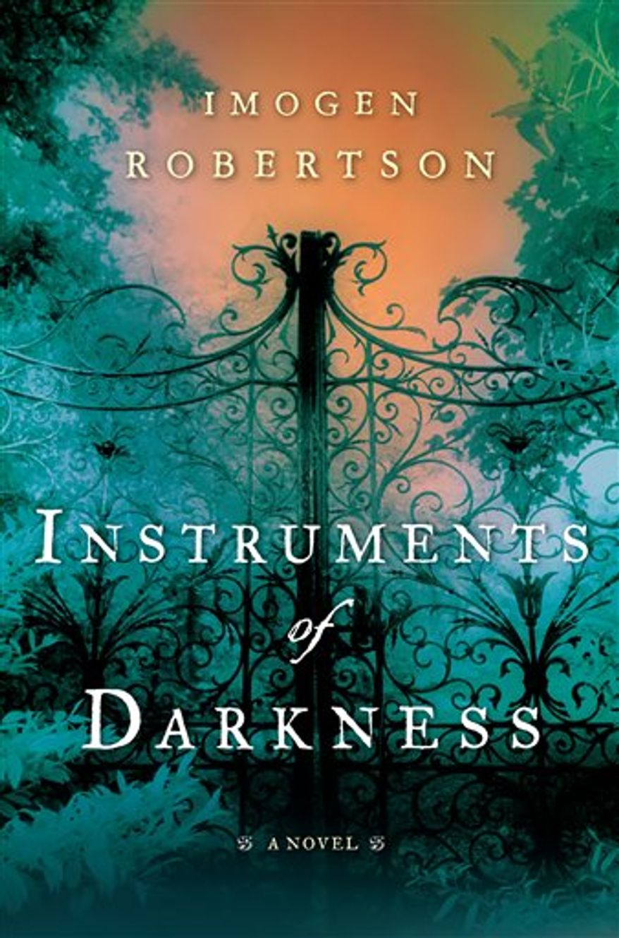 """In this book cover image released by Pamela Dorman Books, """"Instruments of Darkness,"""" by Imogen Robertson is shown. (AP Photo/Pamela Dorman Books)"""