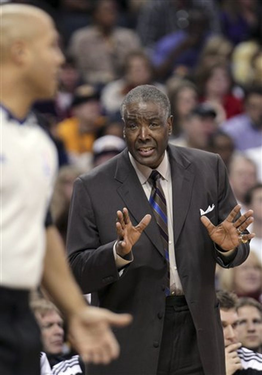 Charlotteb Bobcats coach Paul Silas makes a point to the officials in the first half of an NBA basketball game against the Los Angeles Lakers in Charlotte, N.C., Monday, Feb. 14, 2011. Charlotte won 109-89. (AP Photo/Bob Leverone)