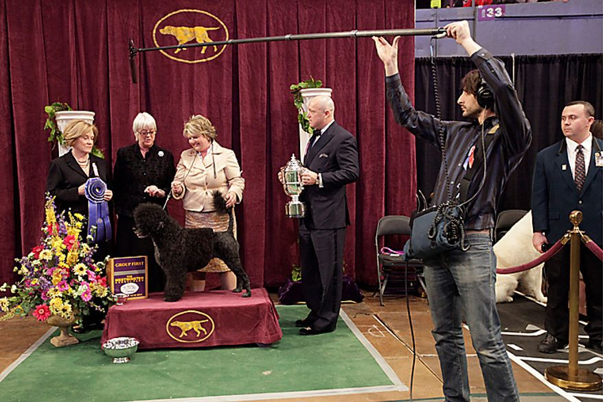 Portuguese water dog Ladybug's handler, Amy Rutherford (third from left) is interviewed after Ladybug won best in the working group at the 135th Westminster Kennel Club Dog Show on Tuesday, Feb. 15, 2011, at Madison Square Garden in New York. (AP Photo/Mary Altaffer)