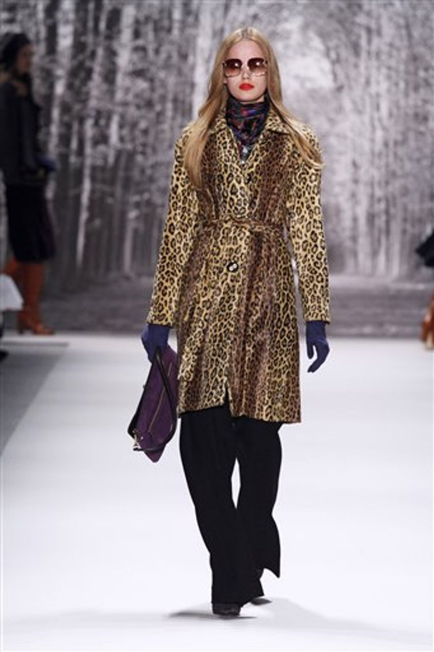 This Wednesday, Feb. 16, 2011 photo courtesy of Milly shows the Milly Fall 2011 collection modeled during Fashion Week in New York. (AP Photo/Milly, Dan and Corina Lecca)  NO SALES; EDITORIAL USE ONLY