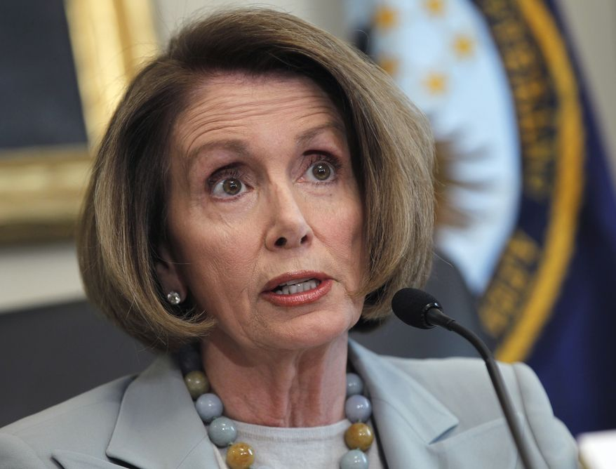 **FILE** House Minority Leader Nancy Pelosi, California Democrat, takes part in a Feb. 2 hearing of the House Democratic Steering and Policy Committee on Capitol Hill to discuss the need to create jobs. (Associated Press)