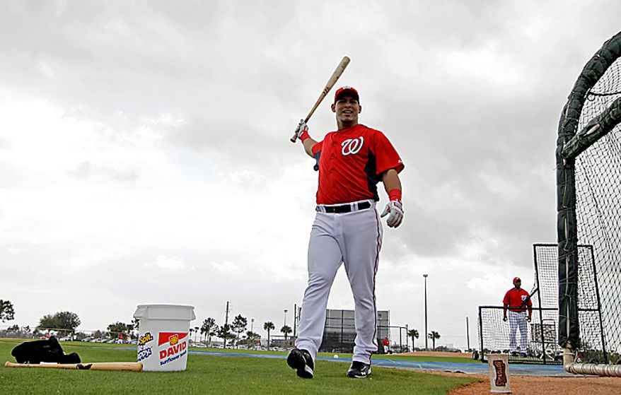Washington Nationals catcher Wilson Ramos swings his bat during a spring training workout on Thursday, Feb. 17, 2011, in Viera, Fla. (AP Photo/David J. Phillip)