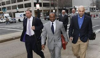 Roger Goodell, NFL commissioner, left, and Jerry Jones, owner of the Dallas Cowboys talk as they leave after negotiations with the NFL Players Association involving a federal mediator broke down without an agreement Friday, March 11, 2011 in Washington.(AP Photo/Alex Brandon)