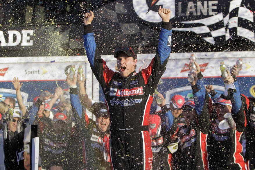 Trevor Bayne celebrates Sunday after winning the Daytona 500 at Daytona International Speedway in Daytona Beach, Fla. (Associated Press)
