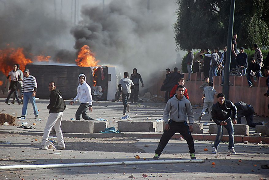 Protesters in Marrakech, Morocco, on Sunday, Feb. 20, 2011, push for greater democracy and constitutional reform. (AP Photo/Tarik Najmaoui)