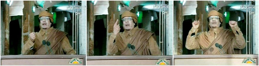 """BITTER END? Seen here in images taken Tuesday from Libyan state TV, Moammar Gadhafi, who has ruled the North African nation since 1969, vowed: """"I will not leave Libya. I will die a martyr."""" (Libyan state television via Associated Press)"""