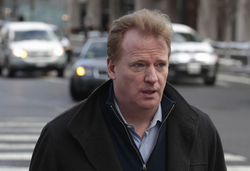 NFL Commissioner Roger Goodell arrives for football labor negotiations with the NFL Players Association involving a federal mediator, Tuesday, Feb. 22, 2011, in Washington. (AP Photo/Alex Brandon)