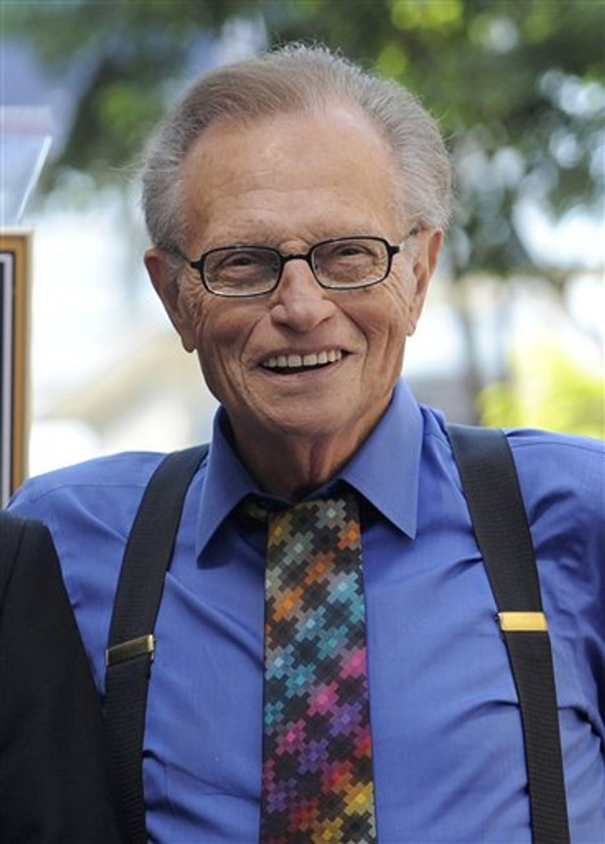 """FILE - In this Sept. 14, 2010 file photo, broadcaster Larry King is shown in Los Angeles. King who retired last year after 25 years at CNN will be taking the stage in seven communities to dish about his storied career in a one-man show. """"Larry King: Stand Up"""" kicks off April 14, 2011 in Torrington, Conn. (AP Photo/Chris Pizzello, file)"""