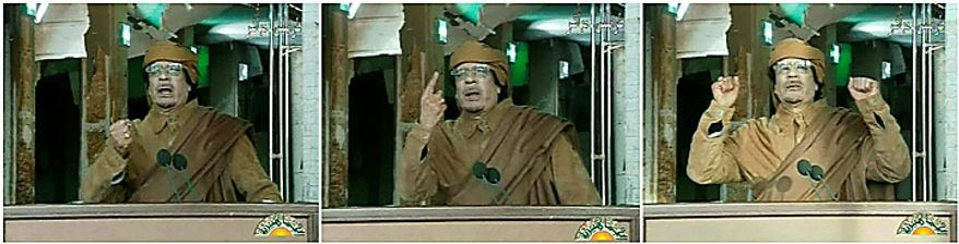 This three image combo made from video broadcast on Libyan state television Tuesday, Feb. 22, 2011, shows Libyan leader Moammar Gadhafi as he addresses the nation in Tripoli, Libya. Col. Gadhafi vowed to fight on against protesters demanding his ouster and die as martyr. (AP Photo/Libya State Television via APTN)