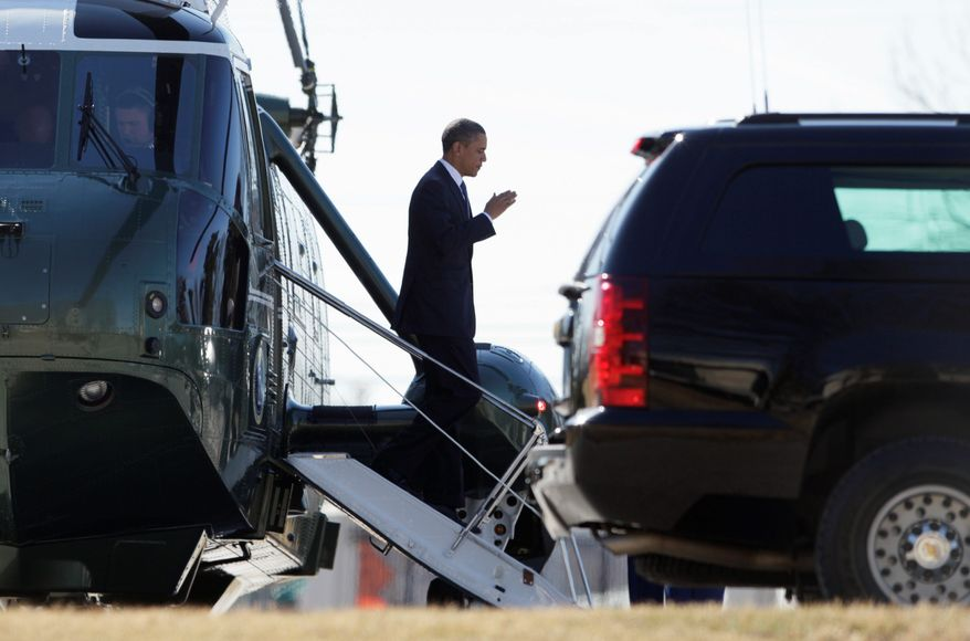 President Obama prepares to salute as he steps off the Marine One helicopter at the National Naval Medical Center in Bethesda, Md. On Capitol Hill, lawmakers are waiting for him to engage in the spending-cuts debate. (Associated Press)