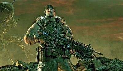 "In this video game image released by Epic Games, Delta Squad member Marcus Fenix is shown in a scene from ""Gears of War 3."" (AP Photo/Epic Games) NO SALES"