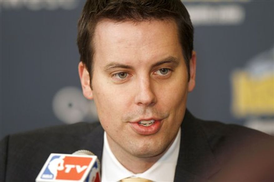 Denver Nuggets president Josh Kroenke talks during a news conference about the trade of Carmelo Anthony and Chauncey Billups to the New York Knicks, Tuesday, Feb. 22, 2011, in Denver. In a swap that was being finalized Tuesday, the Nuggets dealt their two most popular players, Anthony and Billups, along with three backups to the Knicks for a package of four young players, three draft picks and cash in a megadeal that reshapes both franchises. (AP Photo/Barry Gutierrez)