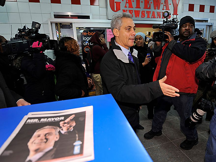 Chicago Mayor-elect Rahm Emanuel arrives at a commuter train station to thank voters on Wednesday, Feb. 23, 2011, in Chicago. (AP Photo/Brian Kersey)