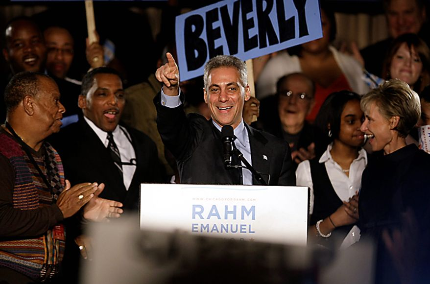 Former White House Chief of Staff Rahm Emanuel speaks at his election-night party on Tuesday, Feb. 22, 2011, in Chicago. Mr. Emanuel was elected mayor of Chicago, easily overwhelming five rivals to take the helm of the nation's third-largest city as it prepares to chart a new course without the retiring Mayor Richard M. Daley. (AP Photo/Kiichiro Sato)
