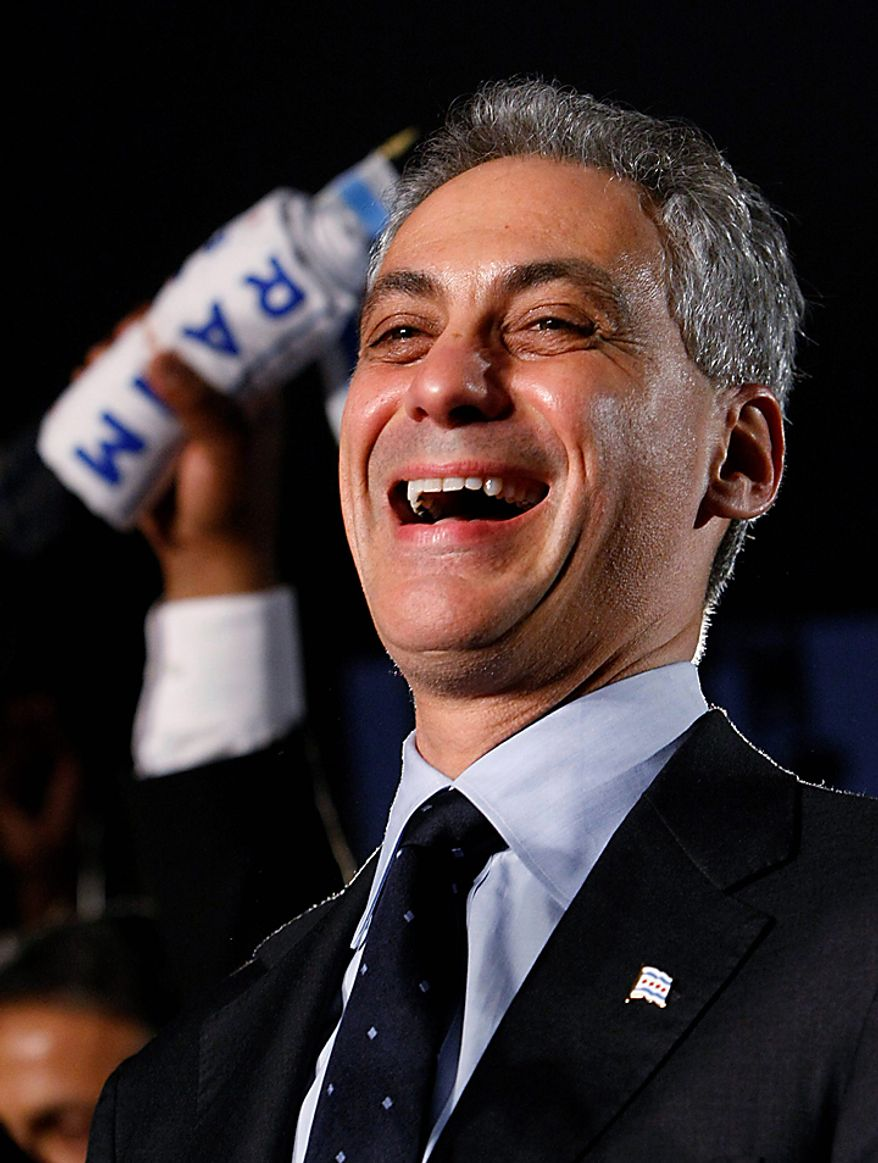 Former White House Chief of Staff Rahm Emanuel laughs before addressing the crowd at his election-night party on Tuesday, Feb. 22, 2011, in Chicago. Mr. Emanuel was elected Chicago mayor, easily overwhelming five rivals. (AP Photo/Charles Rex Arbogast)