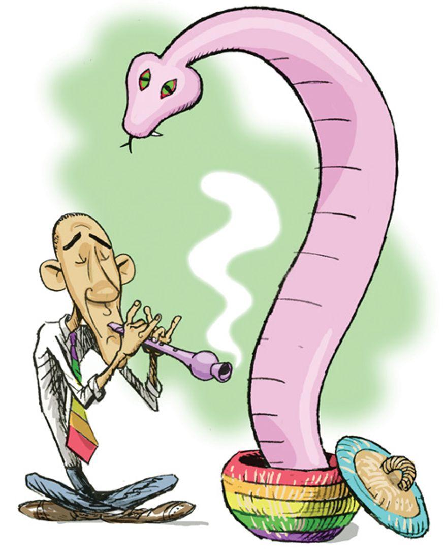 Illustration: Snake charmer by Alexander Hunter for The Washington Times