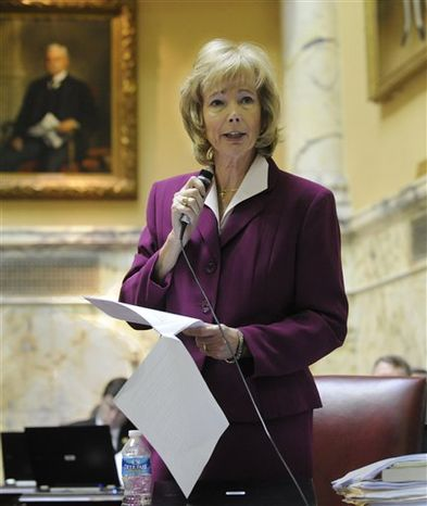 Sen. Nancy Jacobs, R-Harford County, speaks in opposition of the gay marriage bill on the State Senate floor Thursday, Feb. 24, 2011 in Annapolis, Md prior to the bill clearing Thursday evening.(AP Photo/Gail Burton)