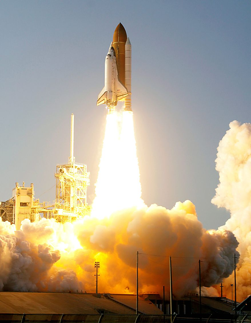 Space shuttle Discovery lifts off from Pad 39A at the Kennedy Space Center in Cape Canaveral, Fla., Thursday, Feb. 24, 2011. Discovery, on its last mission, will carry the Leonardo Permanent Multipurpose Module, or PMM, to the International Space Station. (AP Photo/John Raoux)