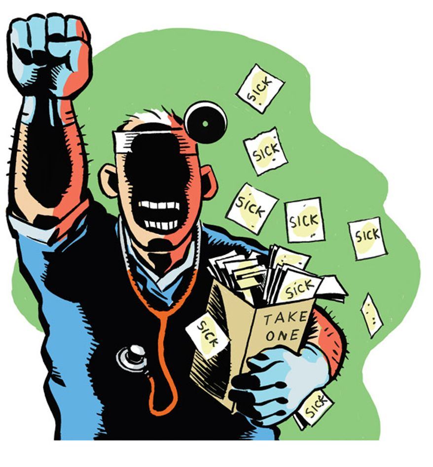 Illustration: Doctor fraud by Alexander Hunter for The Washington Times