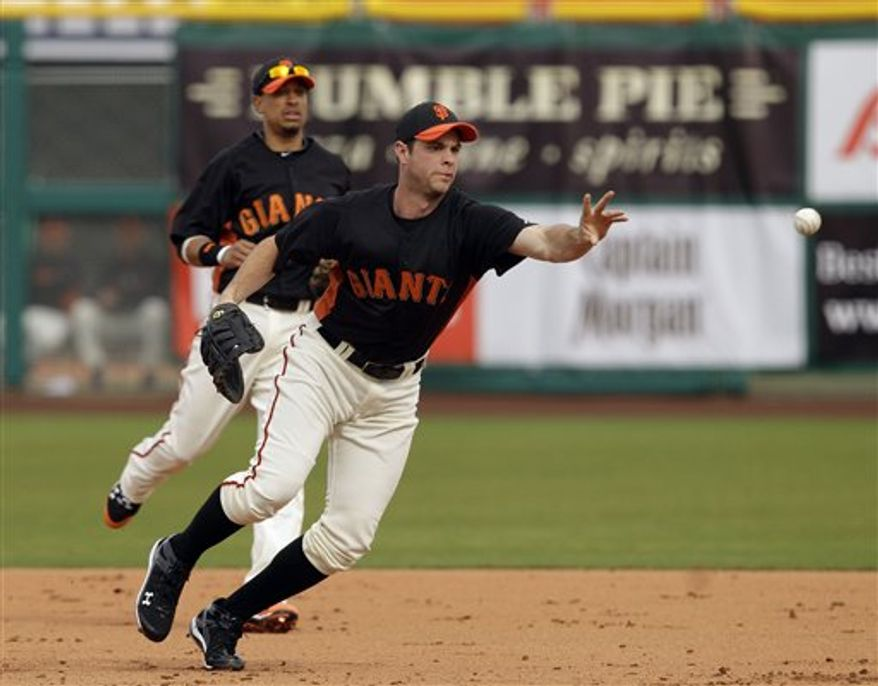 San Francisco Giants first baseman Brandon Belt throws out Arizona Diamondbacks' Miguel Montero at first after a ground ball during the sixth inning of a spring training baseball game in Scottsdale, Ariz. Friday, Feb. 25, 2011. (AP Photo/Marcio Jose Sanchez)